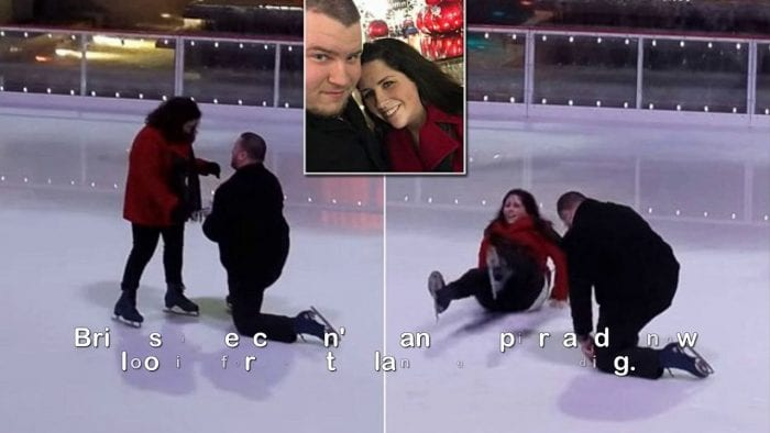 Woman slips during proposal at Rockefeller Center ice rink