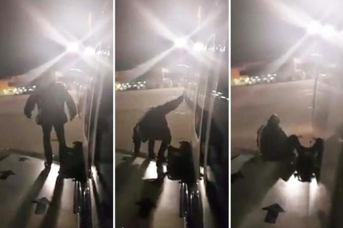 Passenger climbs out jet's emergency exit on tarmac