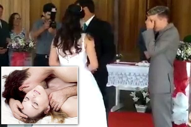 Wedding ceremony interrupted by a woman's sexual groans
