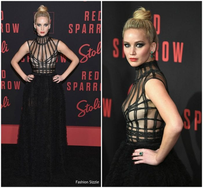 Jennifer Lawrence in Christian Dior Couture at the New York 'Red Sparrow'