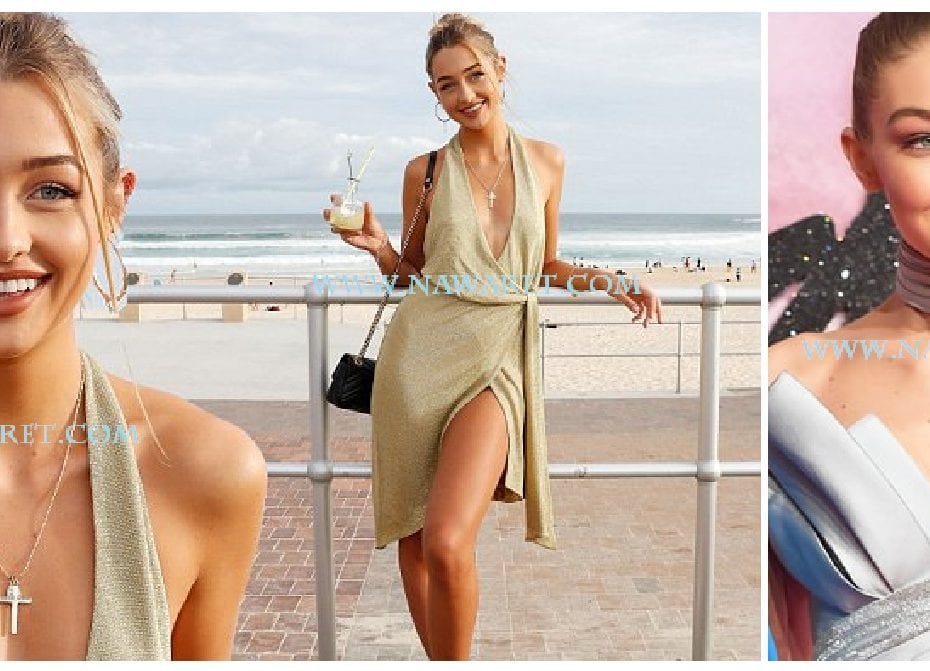Sammy Robinson goes BRALESS in VERY low-cut frock