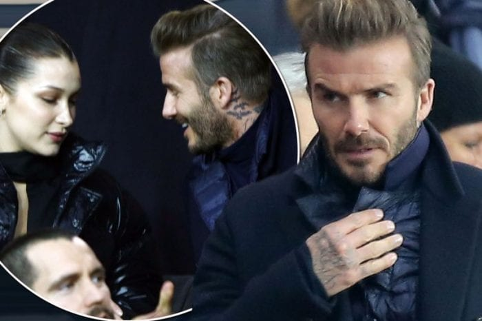 David Beckham and supermodel Bella Hadid watch the football together in Paris