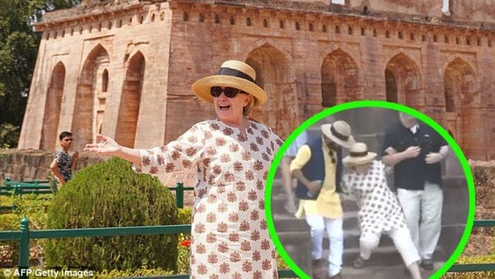 What is it with Hillary and stairs? Clinton slips twice during trip to India - five months after she broke her toe in a London hotel