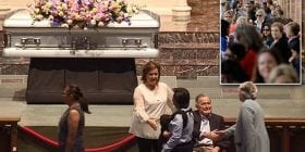 Together until the end: Heartbroken George H. W. Bush surprises mourners by sitting next to Barbara's coffin to greet the thousands who lined up to pay their respects to the former First Lady