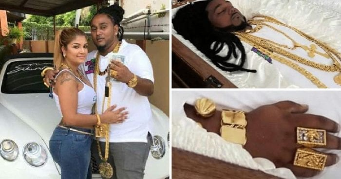 Millionaire real estate mogul, 33, wears $100,000 of jewellery as he lies in a gold casket after being gunned down in Trinidad