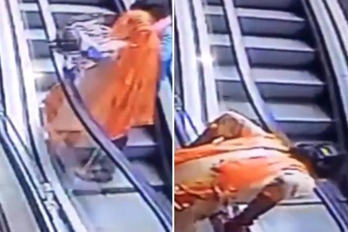 Horrifying moment mother 'taking selfies' on a shopping centre escalator drops her 10-month-old baby girl who falls three storeys to her death