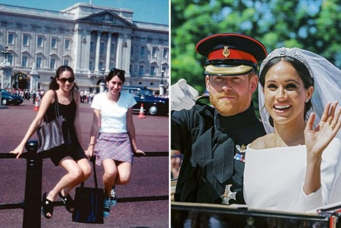 A picture of Prince Harry's fiancee Meghan Markle as a young girl posing outside the Buckingham palace has surfaced