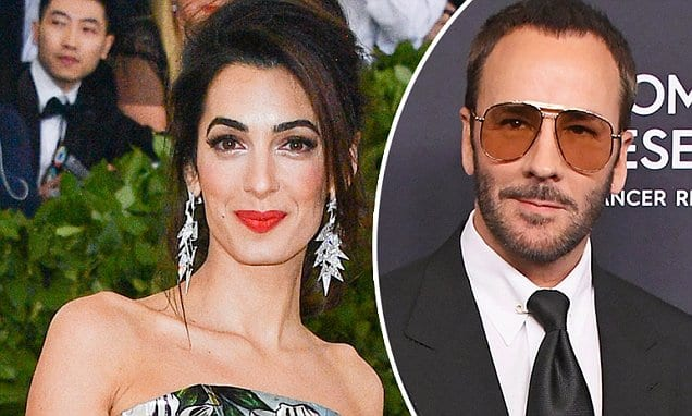 Amal Clooney 'angered' fashion designer Tom Ford's team after wearing her 'backup' outfit by a different designer on the Met Gala red carpet... saving his red 'stained glass' gown for the private after party