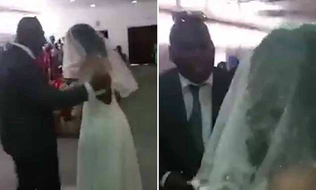Moment woman gate crashes boyfriend's marriage to another woman - Daily Mail