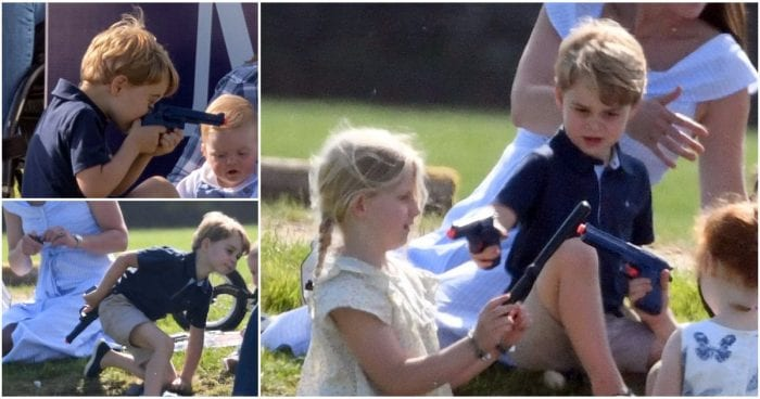 Prince George pictured playing with a toy gun and people aren't happy