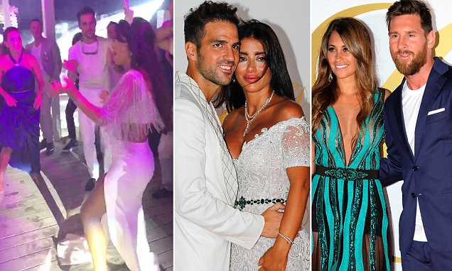 Cesc Fabregas and his wife Daniella Semaan are joined by football legends including John Terry and Lionel Messi as they throw lavish post-wedding bash in Ibiza