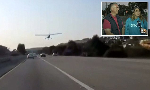 Car dashcam captures small plane landing on California freeway