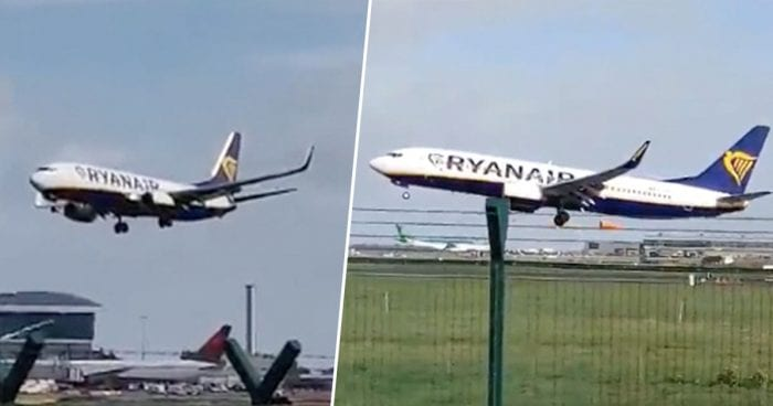 Terrifying Moment Plane Fails To Land At Dublin Airport During Storm