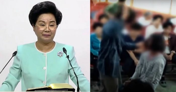 Accused South Korean cult leader filmed beating her followers