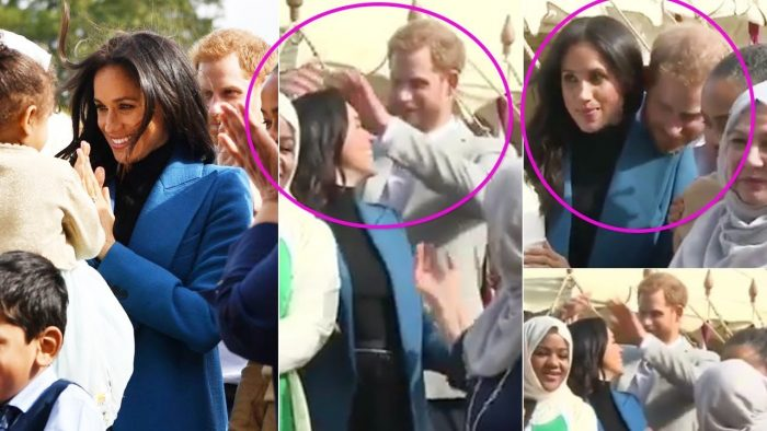 Sweet moment Harry fixes Meghan's hair after a wind gust
