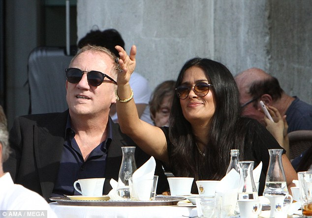 Salma Hayek and Francois-Henri Pinault take a boat trip after strolling in San Marco square in Venice