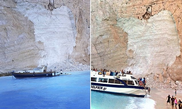 Shocking moment cliff collapses on Zante beach in Greece.