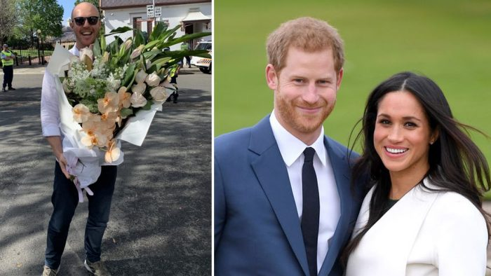 """Meghan received a HUGE bouquet of flowers and Harry said """"now you can't give flowers that big to my wife, what's that all"""
