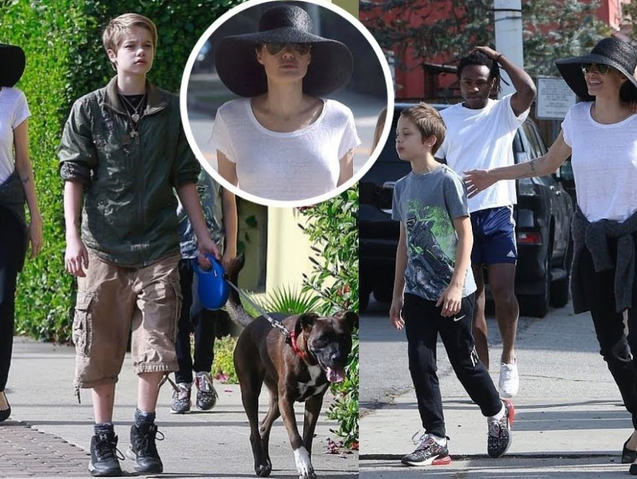 Angelina Jolie takes kids Shiloh, 12, Vivienne, 10, and Knox, 10, out to lunch in LA amid brewing custody battle with Brad Pitt