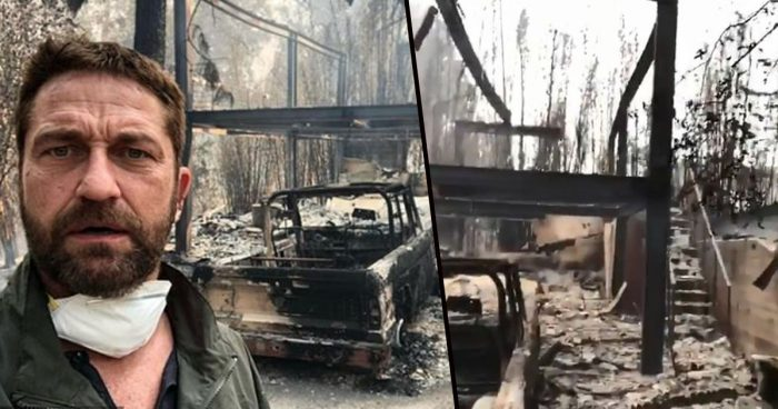 Gerard Butler shares stunning selfie in front of his completely BURNED DOWN house and car in Malibu