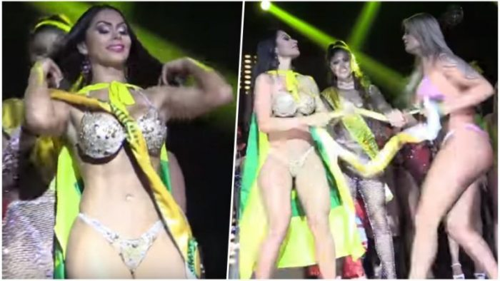 Scuffle breaks out as Miss BumBum contestants 'debate' realness of their butts
