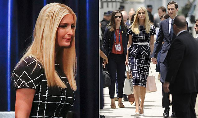 Supporting in style! Ivanka Trump models a ladylike $3,700 Oscar de la Renta outfit - and carries a bag from her defunct fashion line - to watch Jared receive an award at G20 summit