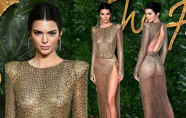 Kendall Jenner wears skimpy thong and no bra under daring sheer gold-beaded dress at star-studded event