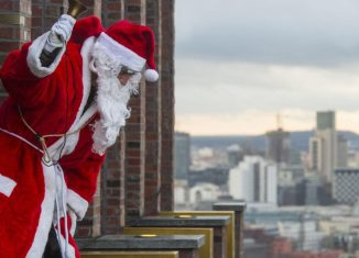 Santa swaps the chimney for an abseil in Berlin