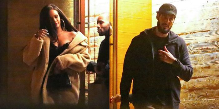 Rihanna sizzles in lacy black number while enjoying a late night dinner with billionaire boyfriend Hassan Jameel