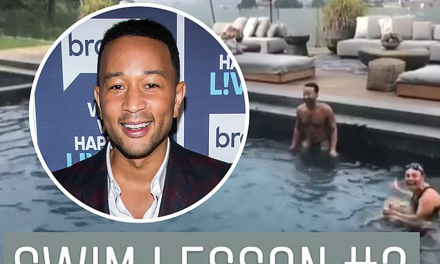John Legend, 40, shares video of himself learning to swim after revealing he didn't know how