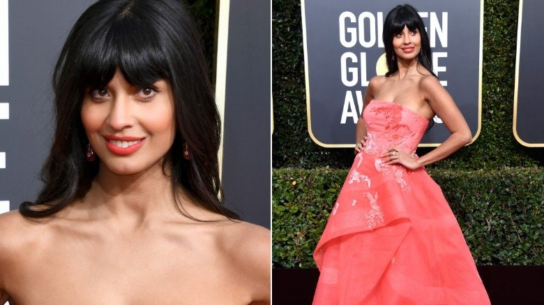 Jameela Jamil rocked jeans under her gown at the Golden Globes
