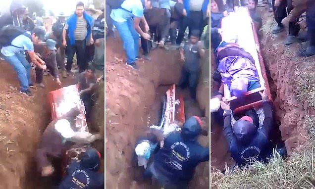 allbearer falls on top of coffin and causes dead woman's body to fall out in Peru |