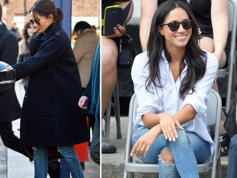 Meghan Markle dresses down and opts for casual blue jeans for informal lunch – but still goes for 'dangerous' high heels