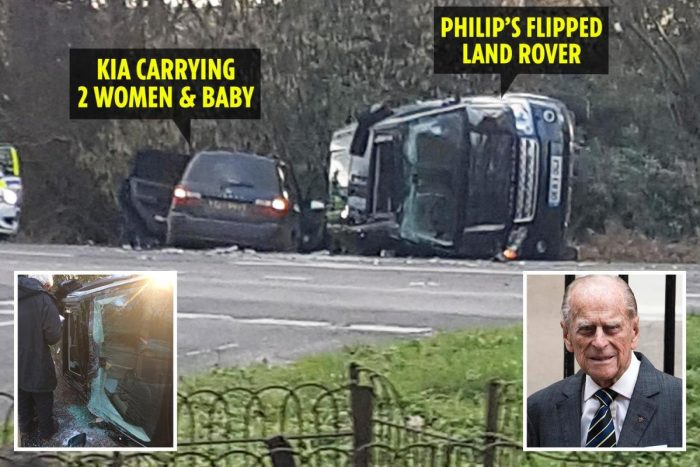 Prince Philip, 97, yelled 'My legs, my legs' after car crash 'caused by dazzling sun' saw Land Rover flip after smashing into Kia carrying mother and baby