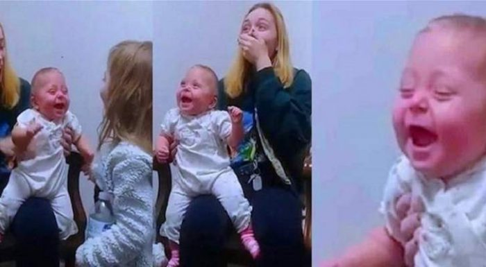 Baby hears sister's voice for the first time