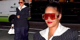 Rihanna has fun with fashion in bizarre combo of pinstripe blazer and hugely oversized trousers