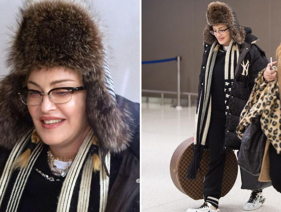 Madonna's face looks Frozen as she arrives in icy-cold New York