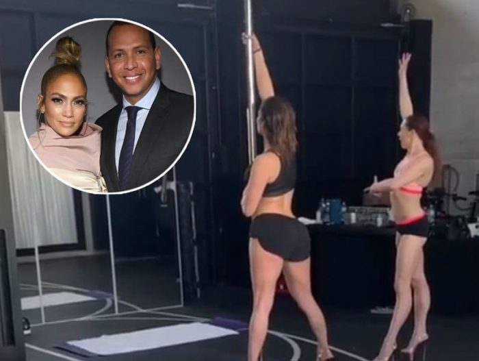 Jennifer Lopez practices pole dancing in front of Alex Rodriguez