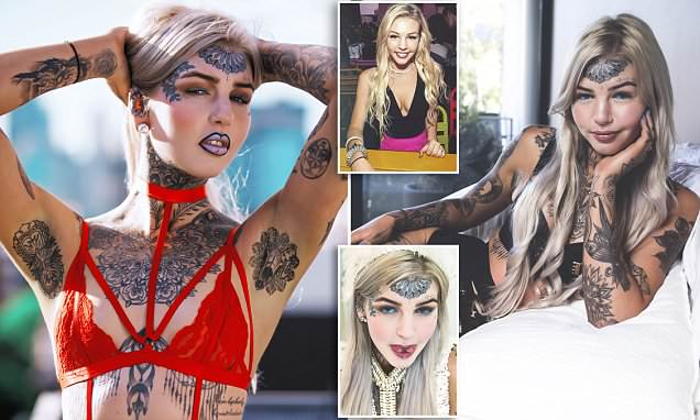 Woman, 23, with a split tongue and blue EYEBALLS shows off more than $10,000 worth of body art in lingerie - as she says the tattoos are therapy for depression
