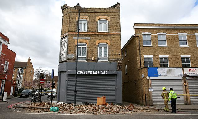 Pedestrian is almost crushed by collapsing building in Hackney