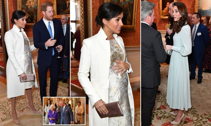 Meghan and Kate reunited! Duchesses make a rare joint appearance as the Queen hosts a party at Buckingham Palace to mark Charles' 50 years as Prince of Wales