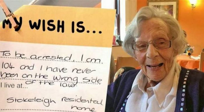 Elderly woman, 104, reveals her wish to be ARRESTED because she's never committed a crime - and police are set to oblige!