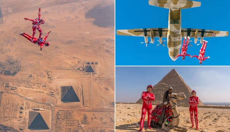 Skydivers Soar Above Egyptian Pyramids