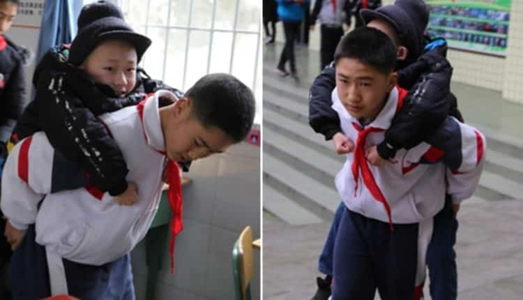 Chinese Boy Has Carried His Disabled Best Friend to Class for 6 YEARS