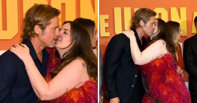 Lena Dunham Gave Brad Pitt a Pretty Awkward Kiss at the 'Once Upon a Time in Hollywood' Premiere