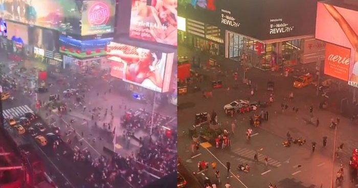 Panic in Times Square. Motorcycle Backfiring Sends Hundreds Running