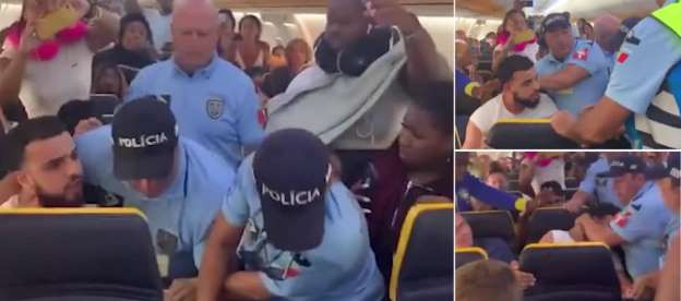 Ryanair passenger is banned for life by the airline after Portuguese police drag him away when he is accused of PUNCHING an air hostess before his flight took off for Stansted