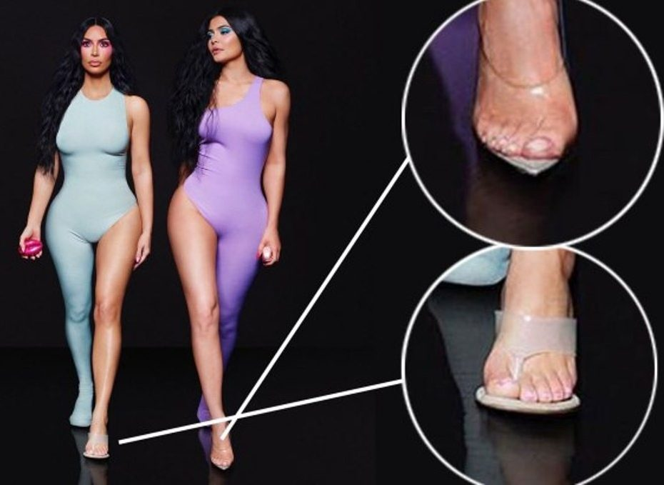 Kim Kardashian accused of photoshop fail as fans spot a 'sixth toe' in new promo for perfume collaboration with Kylie Jenner