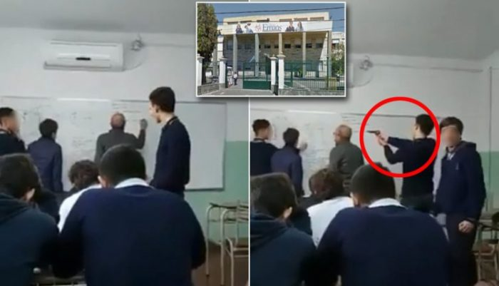 A Catholic high school student in Argentina was filmed aiming a replica gun at a teacher's head while his back was turned.