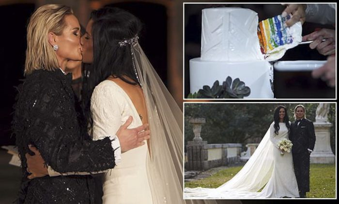 Having a ball! US soccer team stars Ashlyn Harris and Ali Krieger wow in tux and stunning white gown as they marry in 'Mediterranean castle' Miami ceremony
